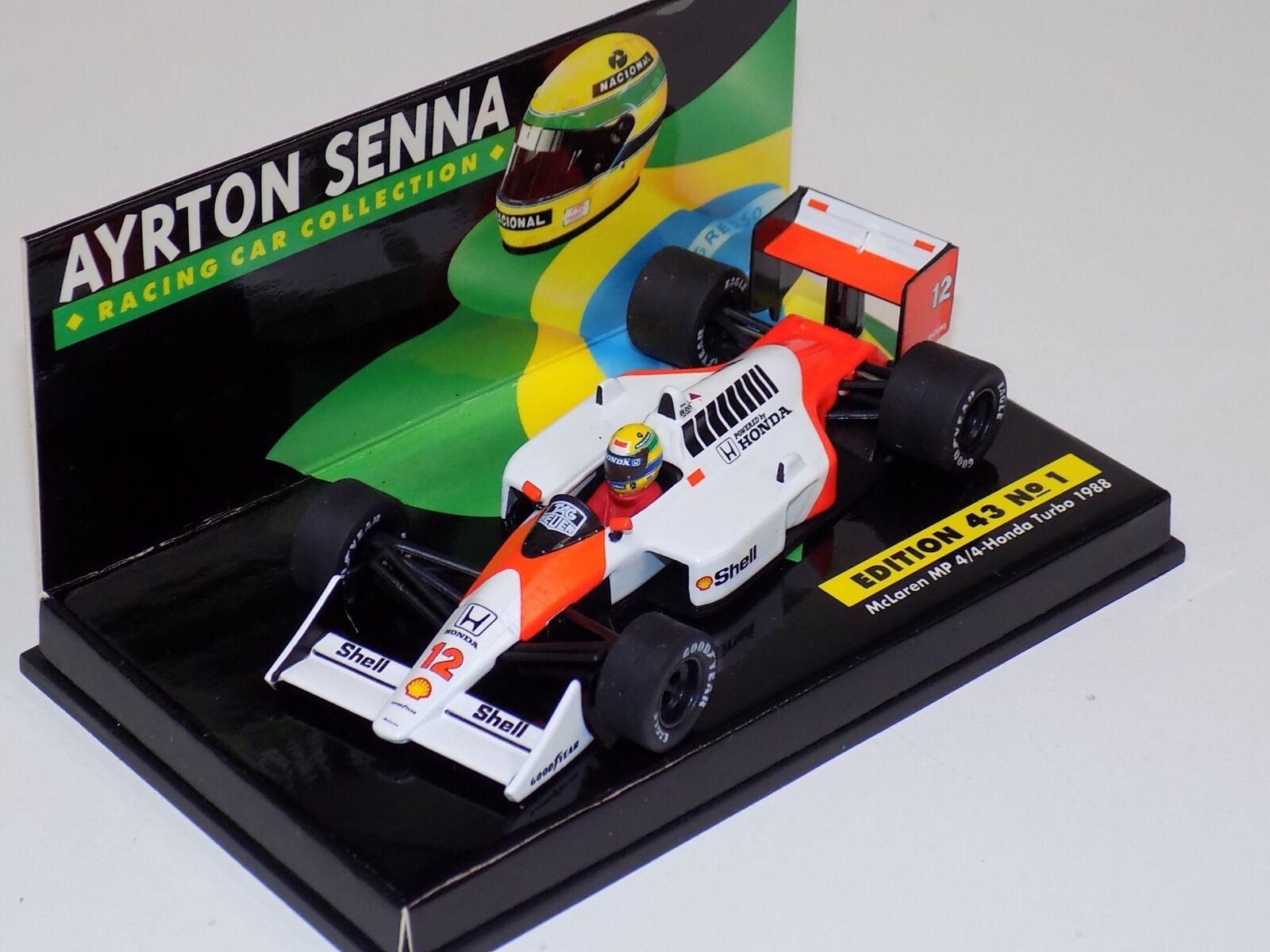 1 43 Minichamps F1 Formula 1  McLaren Honda 1988 MP 4 4 A.Senna Senna Collectio