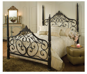 Elegant Queen Size Bed 4 Post Frame Victorian Decor Scroll