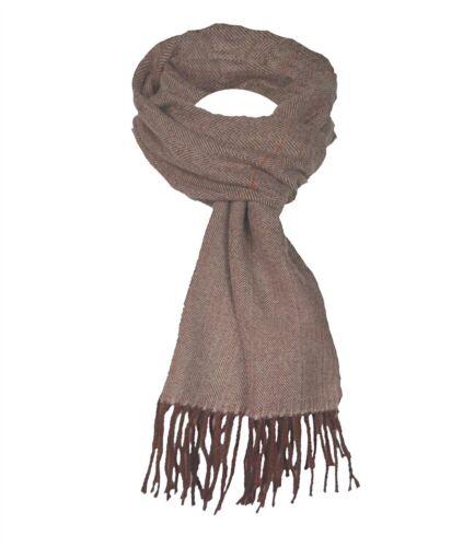 Mens Wool Blend Herringbone Print Scarf Fringing Long Cosy Scarves Fashion Gift