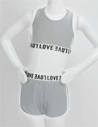Girls Kids Sports Dance Outfits Gym Crop Tops Shorts Tankini Tracksuits Costumes