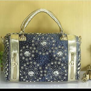 New-Denim-Jean-Crystal-Rhinestone-Beads-Bling-Handbag-Women-039-s-Shoulder-Bag-Gold