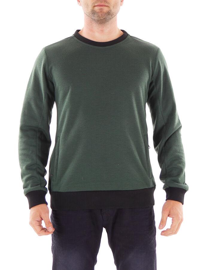 Brunotti Sweater Funktionspulli Nord grün Rundhals atmungsaktiv Tasche