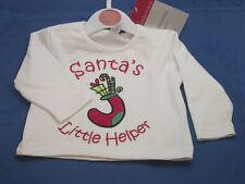 CHRISTMAS TOP 'SANTA'S LITTLE HELPER' 6-12 MONTHS £4.25 FREE P&P