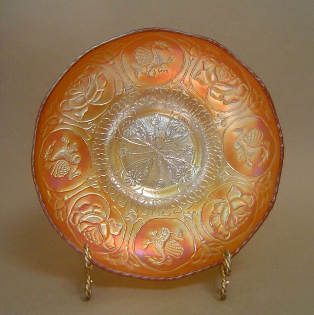 Vintage FENTON Carnival Glass DRAGON & LOTUS ICE CREAM SHAPE Marigold Vaseline