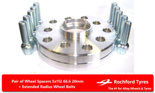 Separadores de Rueda 20 mm Los Pernos OE para Merc CLK-Class A208//C208 97-02 5x112 66.6 2