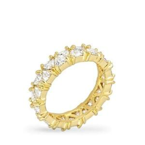 5-9-TCW-Yellow-Gold-Trillion-Cut-CZ-Stackable-Eternity-Bridal-Band-Ring-Size-8