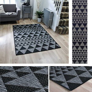 Details about Triangle Geo Prism Flatweave Utility Mats Rugs Hall Runners  Black Anti Slip