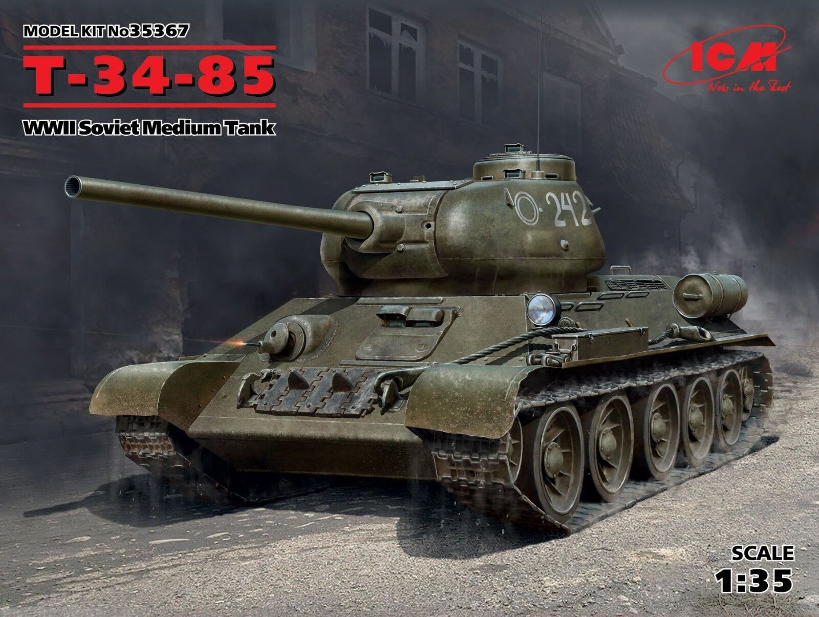 ICM MODELS 35367 SOVIET MEDIUM TANK T-34-85 SCALE MODEL KIT 1 35 NEW WWII