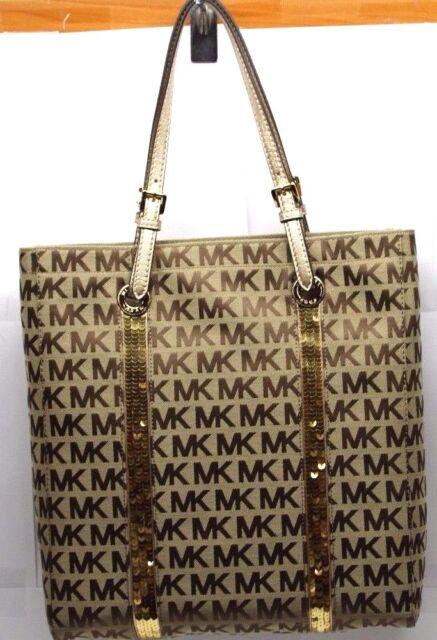 Michael Kors Handbag Purse Sequin Stripes Ns Tote 38f3csst3j Gold Bag Mk