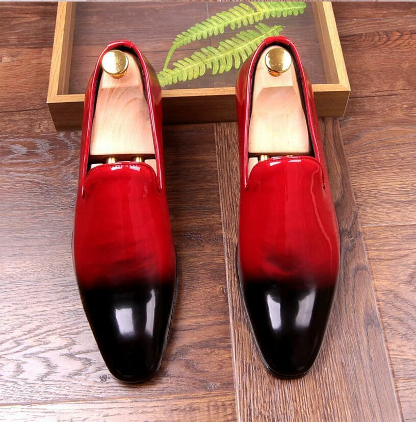 Men's Patent Leather Business pointed Toe slip on Dress Formal shoes 3 color K78