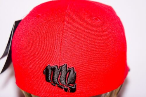 hiphop fitted baseball red hat knockout flat peak cap