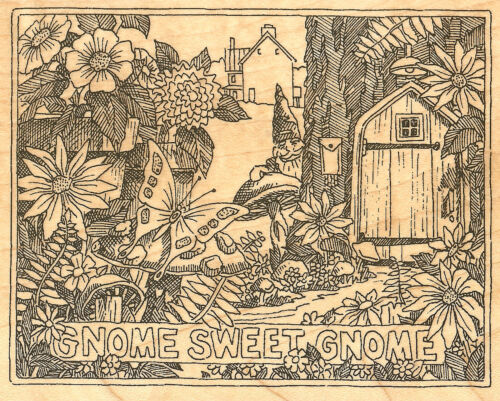 Home Sweet Garden Gnome Wood Mounted Rubber Stamp Impression Obsession H1899 NEW