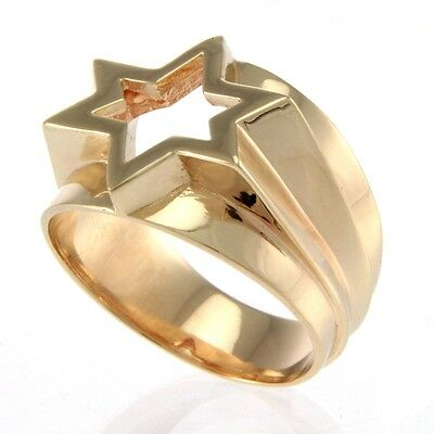 14k Yellow Gold Star of David Designer Ring