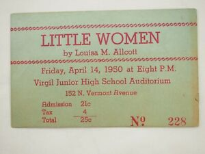 Poco-Mujeres-Louise-M-Allcott-Theater-Ticket-Abril-14th-1950-Virgil-Menor-Alto