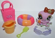 Littlest Pet Shop RARE Octopus #2140 Sparkle Bow Green Eyes Glitter Accessories