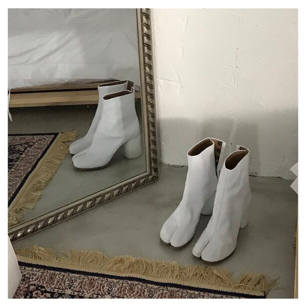 Womens White Leather Chunky Heel Split Toe Knight Combat Mid-calf Boots shoes