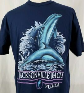Vintage-Jacksonville-Beach-Dolphin-T-Shirt-XL-Navy-Blue-50-50-Florida-Ocean