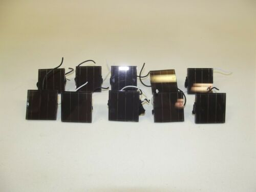 10X 2V 2 VOLT 28mA .07W WATT SMALL 30MM SQUARE SOLAR CELLS  WITH LEAD WIRES
