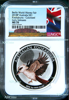 Humble 2018 P Berlin Show Australia Colored Kookaburra Silver Ngc Ms 70 1oz $1 Coin Er Elegant Appearance Coins & Paper Money Australia