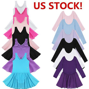 US-Girls-Gymnastics-Ballet-Dance-Dress-Toddler-Kids-Leotard-Tutu-Skirt-Costume