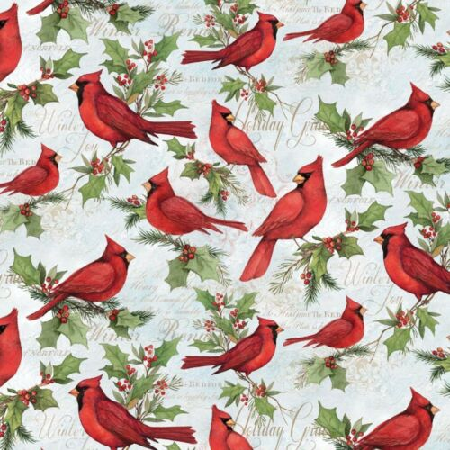 Fabric Birds Cardinals Red Winter Greetings on Cream Cotton by the 1//4 yard