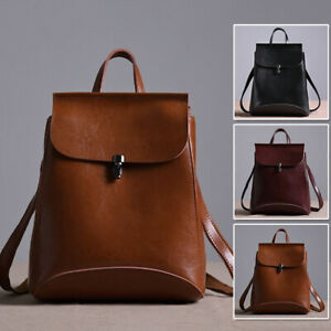 Convertible-Small-Real-Leather-Backpack-Rucksack-Shoulder-Bag-Purse-Cute-2-Sizes