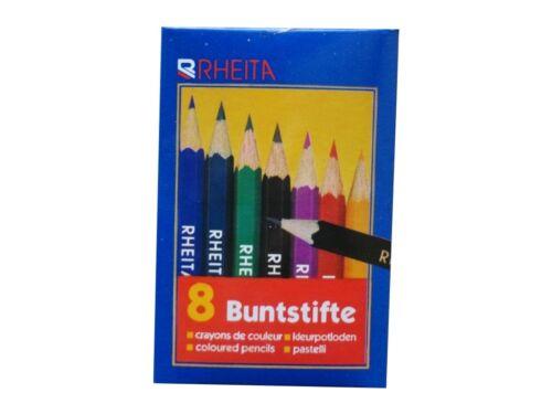 8 Mini Dreikant Buntstifte Malstift Farbstift 9cm lang