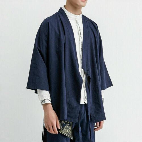 Men Japanese Kimono Jacket Vintage Chinese Linen Cotton Cardigan Baggy Top Retro