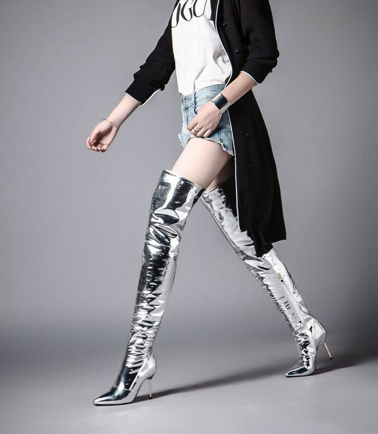 Women's Shiny Thigh-High Boots Stiletto High Heels Pointed Toe Party Club shoes