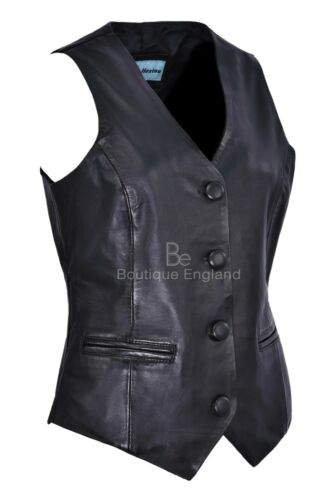Ladies Waistcoat Leather Black Casual Style Fashion Soft REAL LEATHER W//C 5701