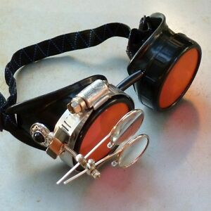 Steampunk goggles Victorian glasses novelty costume welding lens goth SSS red
