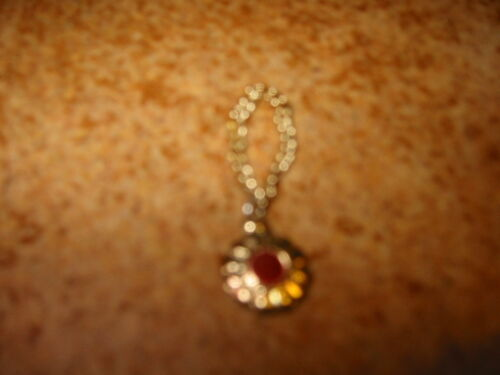 Dawn Doll Necklace Gold Tone with Red Stone