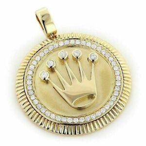 Round-Cut-Diamond-0-50-Ctw-Rolex-Crown-Pendant-14K-Yellow-Gold-Fn