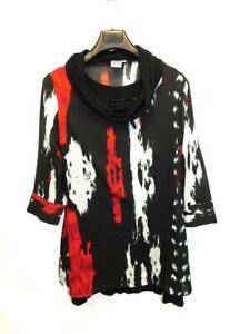Parsley-amp-Sage-L-Black-Red-Gray-Cowl-Neck-Tunic-Shirt-Lined-3-4-Sheer-Sleeves-Lg