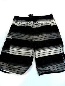 cad11e7f07 Details about O'Neill Mens Black Gray Size 32 Swim Shorts Adjustable Waist  Trunks Bathing Suit
