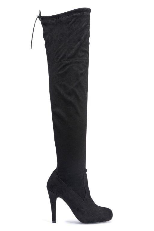 Trufa Nuevo Negro Microfibra Tasha 50 Damas Tacón Stiletto Sobre la Rodilla Botas