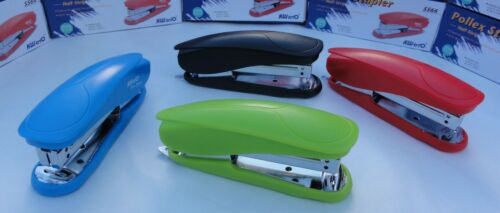 Black//Blue//Green//Red Pollex Half-Strip Stapler with Built-in Staple Remover