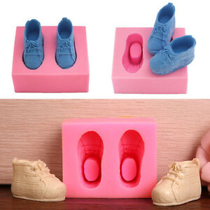 3ad6883720 Image is loading 3D-Baby-Shoes-Silicone-Cake-Chocolate-Mould-Fondant-