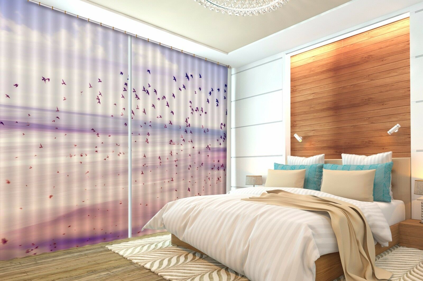 3D Geese View 32Blockout Photo Curtain Printing Curtains Drapes Fabric Window CA