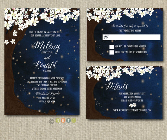 100 Personalized Starry Night Wedding Invitations Set With Envelopes