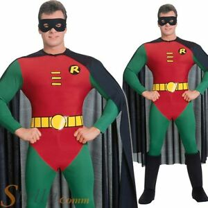 Mens-Traditional-Robin-Costume-Superhero-Batman-Adult-Fancy-Dress-Outfit