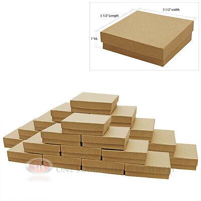 "25 KRAFT COTTON FILLED GIFT BOXES  3 1/2"" X 3 1/2"""