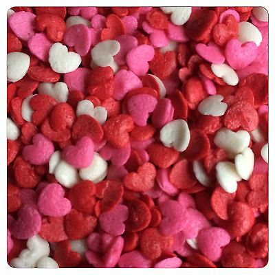 500g Valentines Hearts  Edible Sprinkles  Cake Cupcake Decorations Toppers