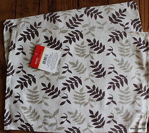Placemats Leafy New Kitchen Dining Table Set of 2 Beautifully Made Brown&White