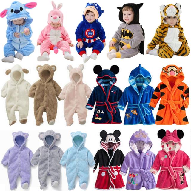 Kids Boys Girls Animal Cosplay Costume Hooded Romper Jumpsuit Kigurumi Sleepwear