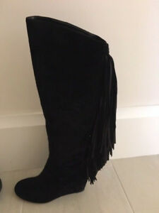 Details About Christian Louboutin Black Suede Fringe Boots