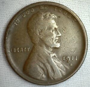 1911-S-Lincoln-Wheat-Penny-One-Cent-Copper-Penny-Coin-1c-Fine-M2