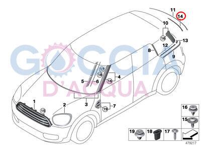 MINI NEW GENUINE COUNTRYMAN R60 SINCE 2012//11 TRUNK LID TRIM STRIP 9810473