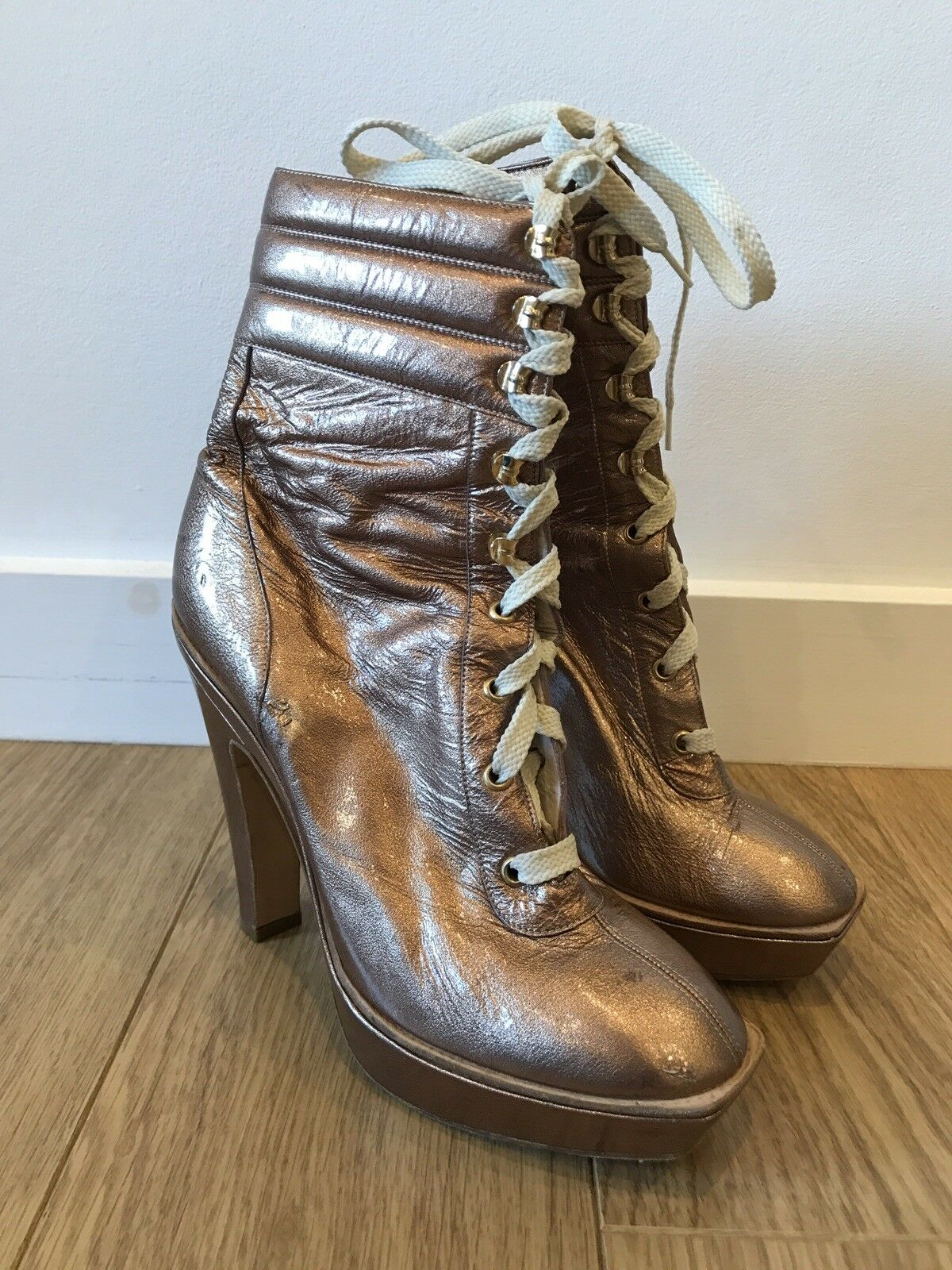 Gorgeous Emilo Pucci Metallic Bronze Heel Lace Up Boots UK 7 40