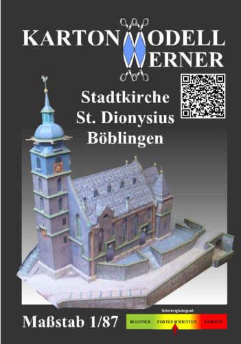 Karton-Modell-Bausatz Stadtkirche St Maßstab 1:87 Dionysius Böblingen
